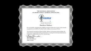 Public Address Announcer Certification Matthew Wallace
