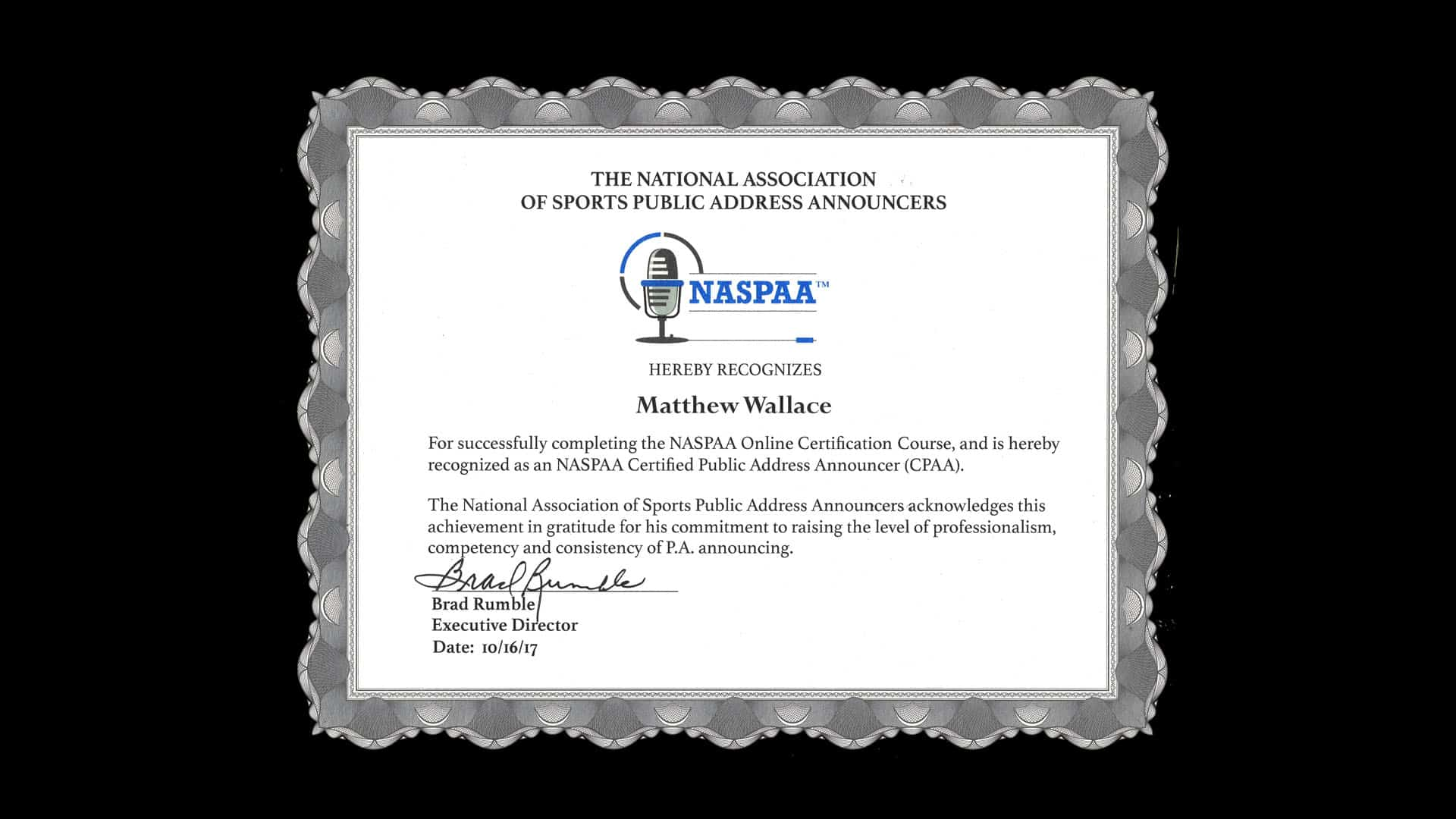 Public Address Announcer Certification Matthew Wallace