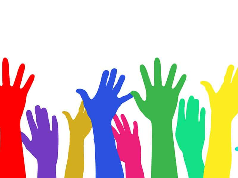 Public Address Announcer Raised Hands
