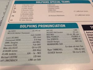 Public Address Announcer Pronunciations Sample Miami Dolphins