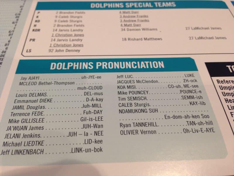 Public Address Announcer Pronunciations Sample Miami Dolphins