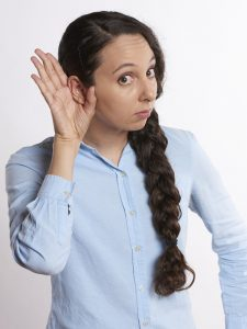 Public Address Announcer Listening Woman