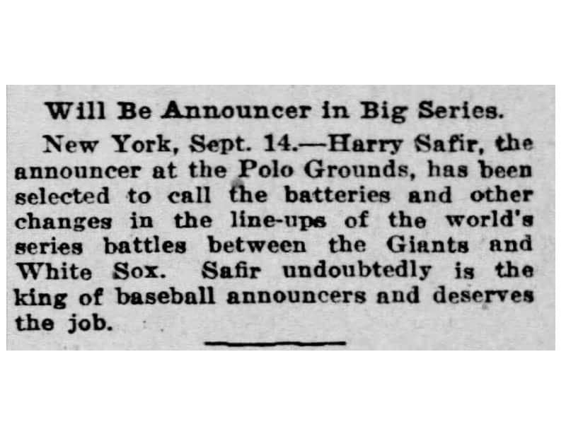 Public Address Announcer Harry Safir