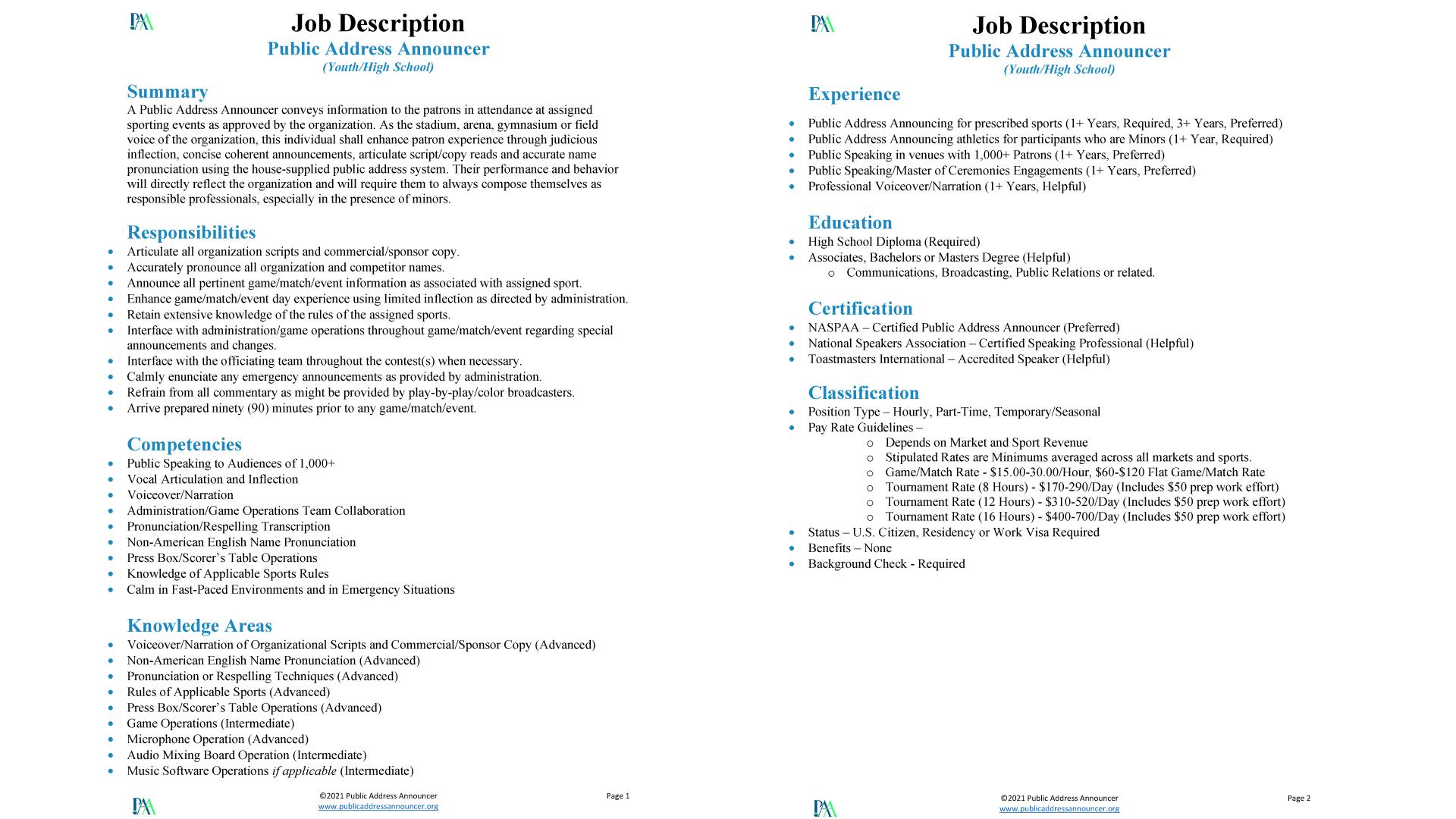 Job Description - Public Address Announcer - High School and Youth