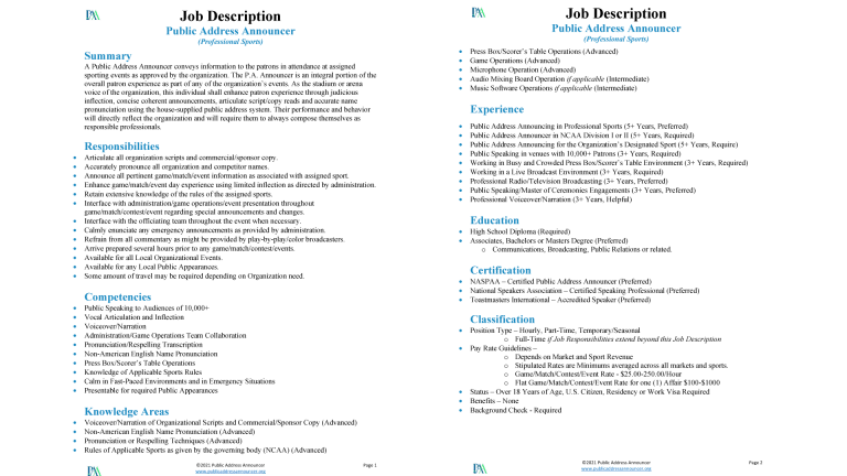 Job Description - Public Address Announcer - Professional Sports