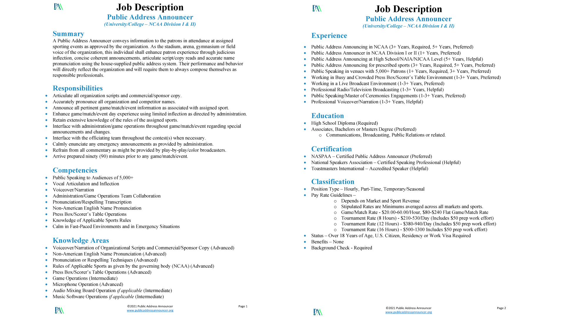 Job Description - Public Address Announcer - University - NCAA