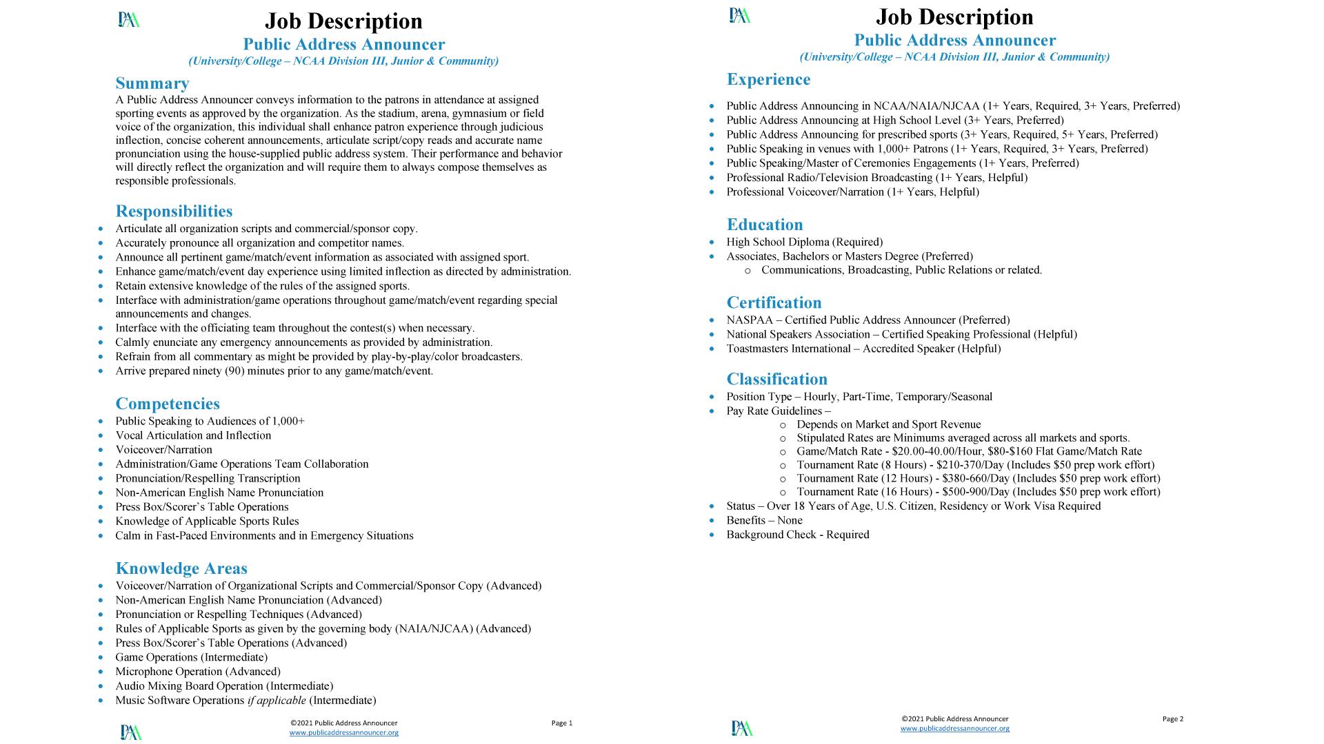 Job Description - Public Address Announcer - University - NCAA NAIA NJCAA