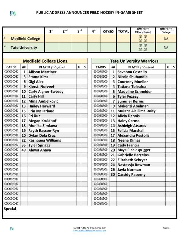 PA Announcer Field Hockey Tools